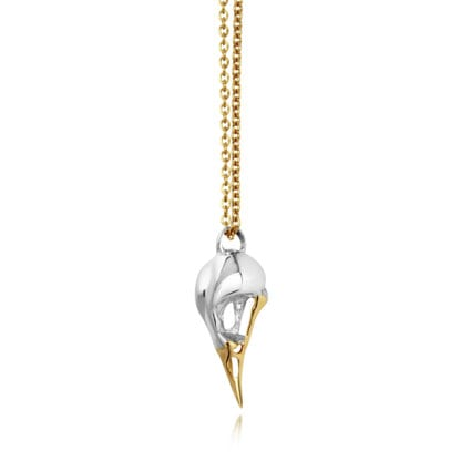 silver small bird skull with gold plated beak and chain